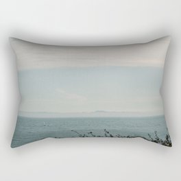 Turquoise Teal Blue Sunset Beach Ocean Seascape Landscape with Sail Boat Nautical Mountain Island  Rectangular Pillow