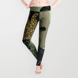 Modern military clothing camouflage glitter illustration pattern Leggings