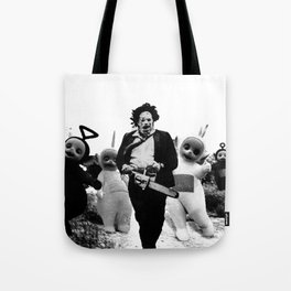 Leatherface with Teletubbies Tote Bag