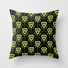 Butterfly and heart .Green with black pattern . Throw Pillow