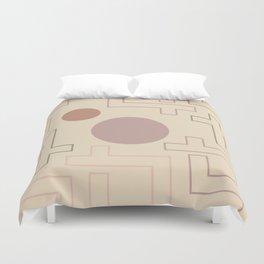 Setting Sun Rising Moon - Mid Century Modern Beige Duvet Cover