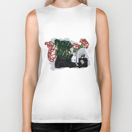 Green hair with carnations Biker Tank