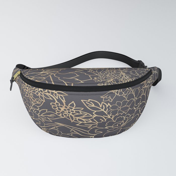 Luxury winter floral golden strokes doodles design Fanny Pack