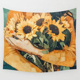 Holding Sunflowers #society6 #illustration #nature #painting Wall Tapestry