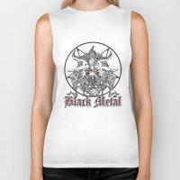 pentagram Biker Tanks featuring Black Metal Baphomet Pentagram  by Scott Jackson Monsterman Graphic