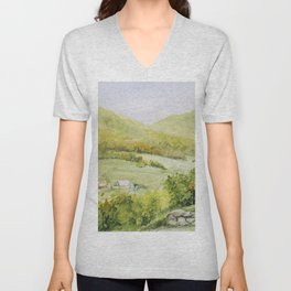 Autumn Fall on a Vermont Town Unisex V-Neck