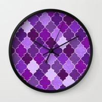 morocco Wall Clocks featuring Morocco Orchid by Jacqueline Maldonado