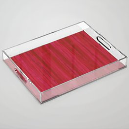 Strawberry Colored Vertical Stripes Acrylic Tray