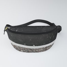 Black and White Marble Silver Glitter Stripe Glam #1 #minimal #decor #art #society6 Fanny Pack