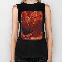 Blaze Orange Hibiscus Flower Biker Tank