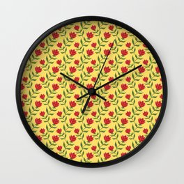 Elegant classy delicate dark red blooming roses flowers pattern. Girly stylish golden yellow floral Wall Clock