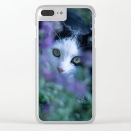 Just another kitty among the flowers Clear iPhone Case