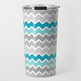 Turquoise Teal Blue Gray Chevron Travel Mug