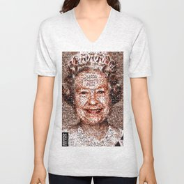 BEHIND THE FACE Queen Elizabeth | drunk and pregnant girls Unisex V-Neck