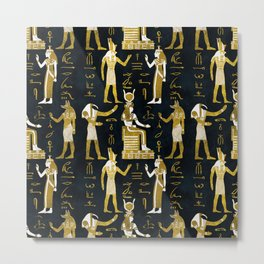 Egyptian Gods Gold and white on dark glass Metal Print