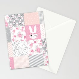 Bunny quilt baby decor newborn nursery charlotte winter pink grey decor for little girl Stationery Cards