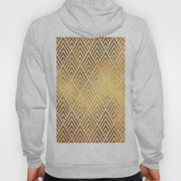 Gold foil triangles on pink - Elegant and luxury triangle pattern Hoody