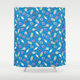 Sweet Treats Pool Floats Pattern – Blue Shower Curtain