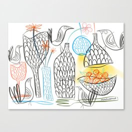 Birds & Pots Canvas Print