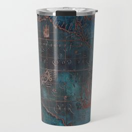 Antique Map Teal Blue and Copper Travel Mug