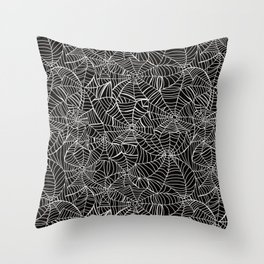 Spiderwebs pattern - black and white spooky halloween pattern Throw Pillow