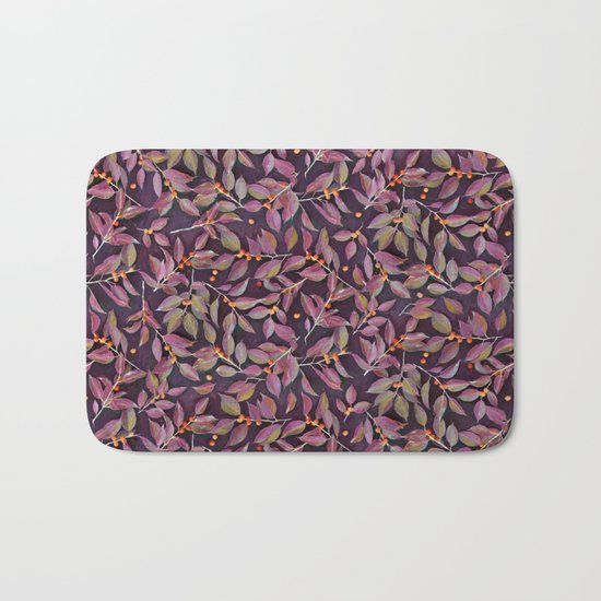 Leaves + Berries in Olive, Plum & Burnt Orange Bath Mat