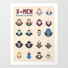 X-MEN BEFORE & AFTER Art Print
