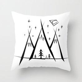 Mountains Camp Throw Pillow