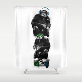Monkey Music Retro Boombox. Shower Curtain