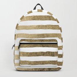 White faux gold elegant modern striped pattern Backpack