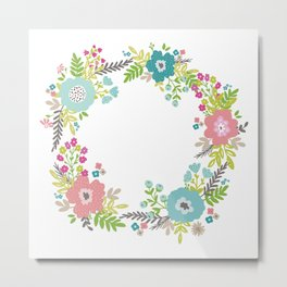Floral fresh spring wreath Metal Print