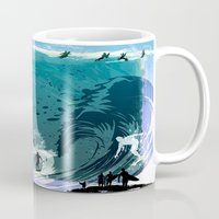 surfing Mugs featuring Surfing by Robin Curtiss