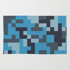 Blue and Grey Pixel Camo pattern Rug