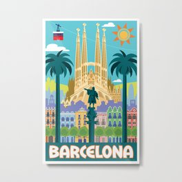 Barcelona Travel Poster Metal Print