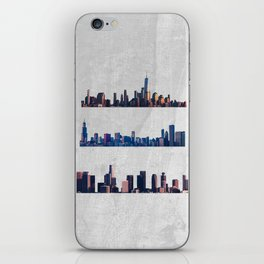 Chicago, New York City, And Los Angeles City Skylines iPhone Skin