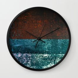 Moon Dust // red blue abstract texture, modern Wall Clock