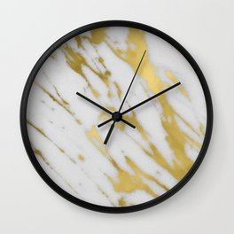 Gold White Marble Wall Clock