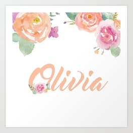 Floral Watercolour Olivia Typography Art Print