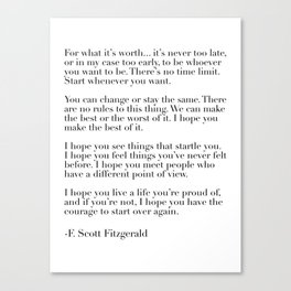 for what it's worth - fitzgerald quote Canvas Print