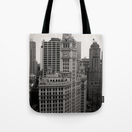 Wrigley Building Chicago Black and White Photo Tote Bag