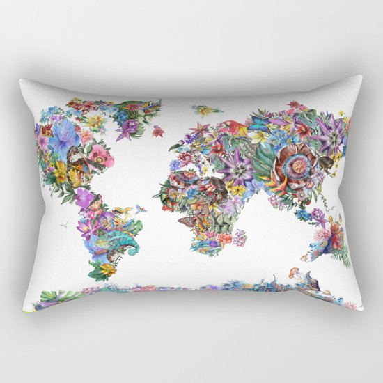 tropical floral world map Rectangular Pillow