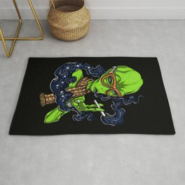 Hipster Alien Space Smoking Psychedelic Rug
