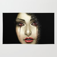 black widow Area & Throw Rugs featuring Black Widow by PiccolaRia