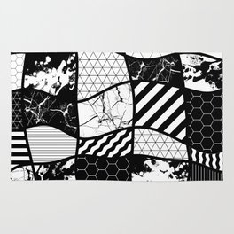 Crazy Patchwork (Abstract, black and white, geometric designs) Rug