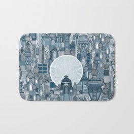 space city mono blue Bath Mat
