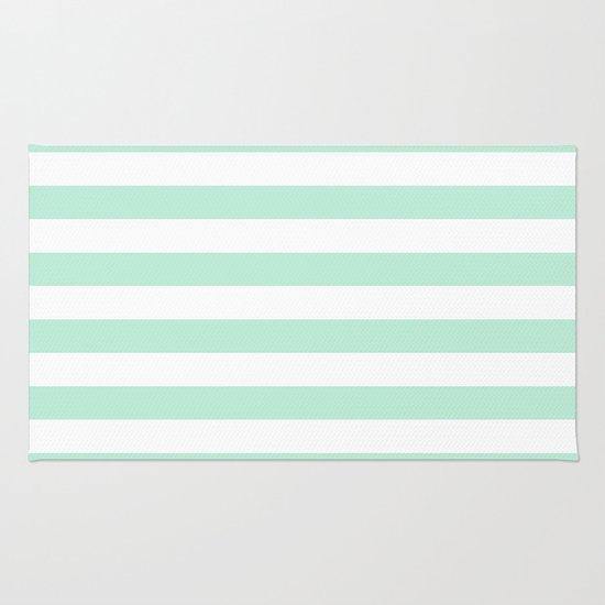 Stripe Horizontal Mint Green Rug