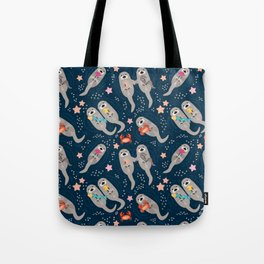 Otters Playing Tote Bag