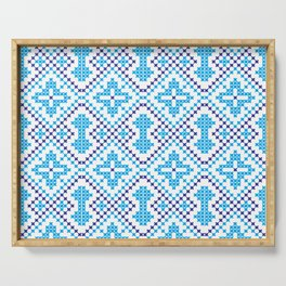 Blue embroidery pattern Serving Tray