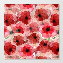 Pressed Poppy Blossom Pattern Canvas Print