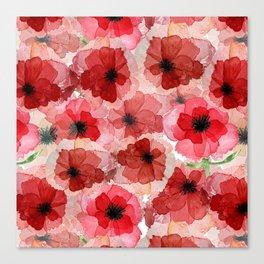 Pressed Poppy Blossom Pattern Canvas Print